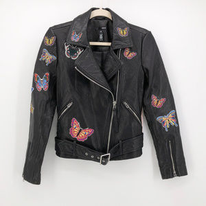 AQUA | Butterfly Patch Boho Leather Moto Jacket
